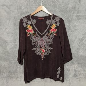 Johnny Was purple floral embroidered blouse